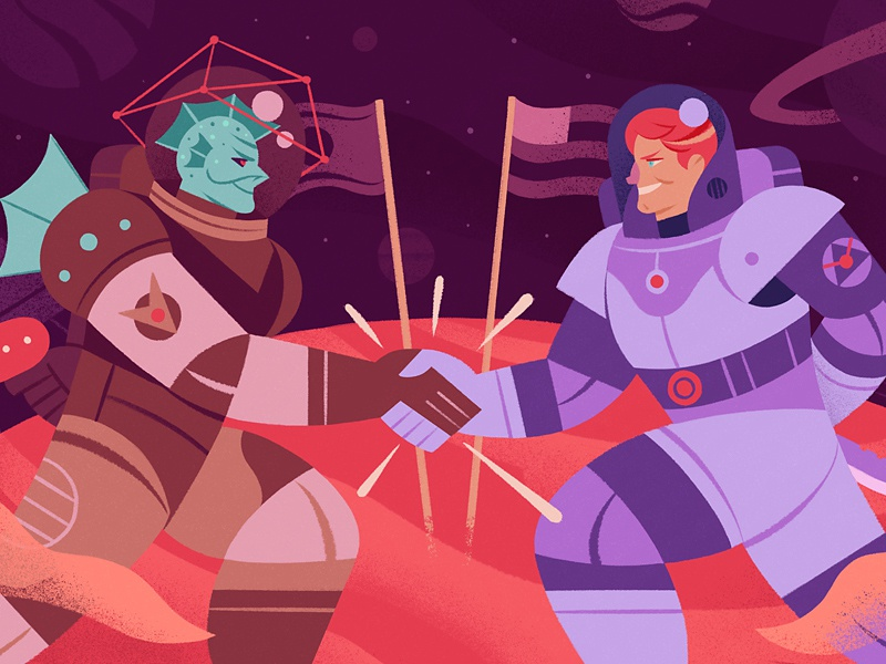 Foreign Relations design editorial character relations astronaut alien illustration