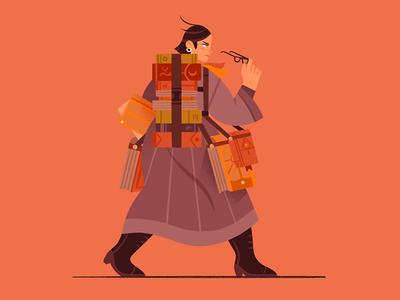 Scholar procreate book scholar design character