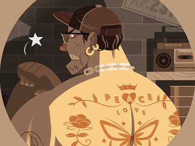 Tattoos editorialillustration procreate design character tattoo illustration