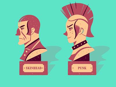 Skin & Punk bust punk skinhead character design illustration
