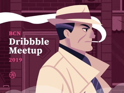 Dribbble Meetup design character noir detective meetups dribbble illustration