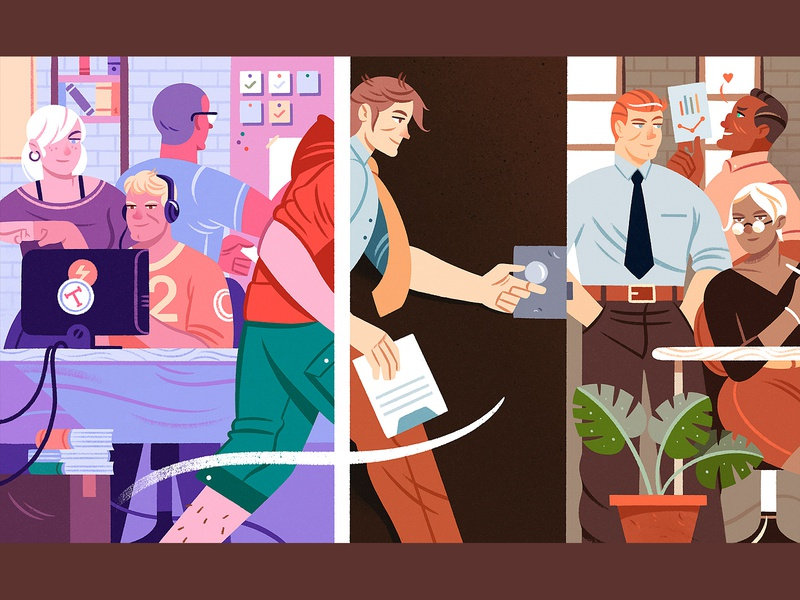 Where do IC designers go once they peak? teamwork editorial jobs collaboration team illustration character