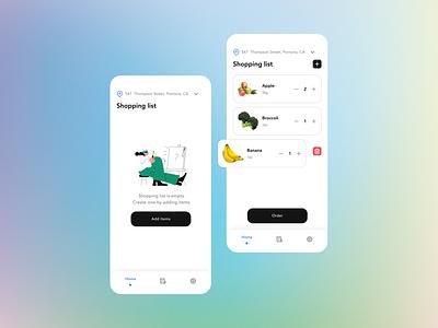 Shop&Collect App concept shopper shop collect gradient figma uidesign uiux ui app navigation bar shopping list shopping app illustration 2d