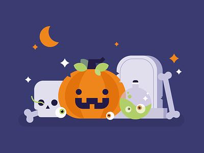 Spooky! Weekly Warm-Up october grave bones pumpkin spooky halloween vector design flat adobe illustrator illustration 2d