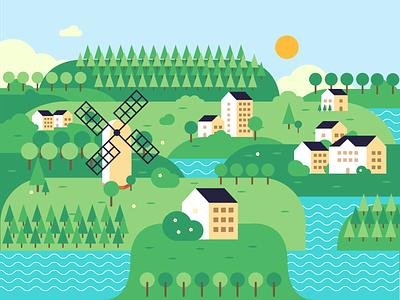Lake Town illustration forest trees summer landscape design adobe illustrator 2d illustration