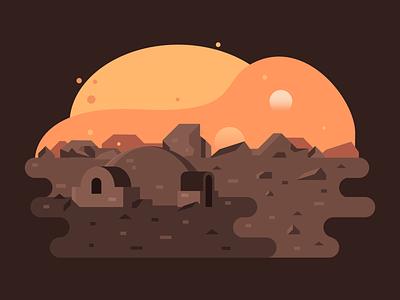 Tatooine landscape flat 2d vector illustration adobe illustrator sunset planetarium star wars starwars