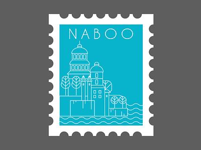 NABOO naboo post stamp star wars weekly warm-up vector landscape design flat adobe illustrator illustration 2d