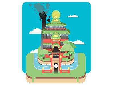 Spirited Away cartoon landscape vector design flat adobe illustrator illustration 2d