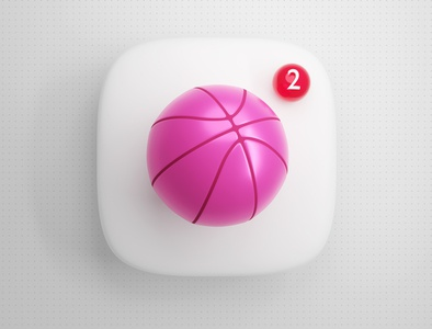 3D Dribbble Icon with 2 Invites notification thebigbangicons design icon 3d invite dribbble