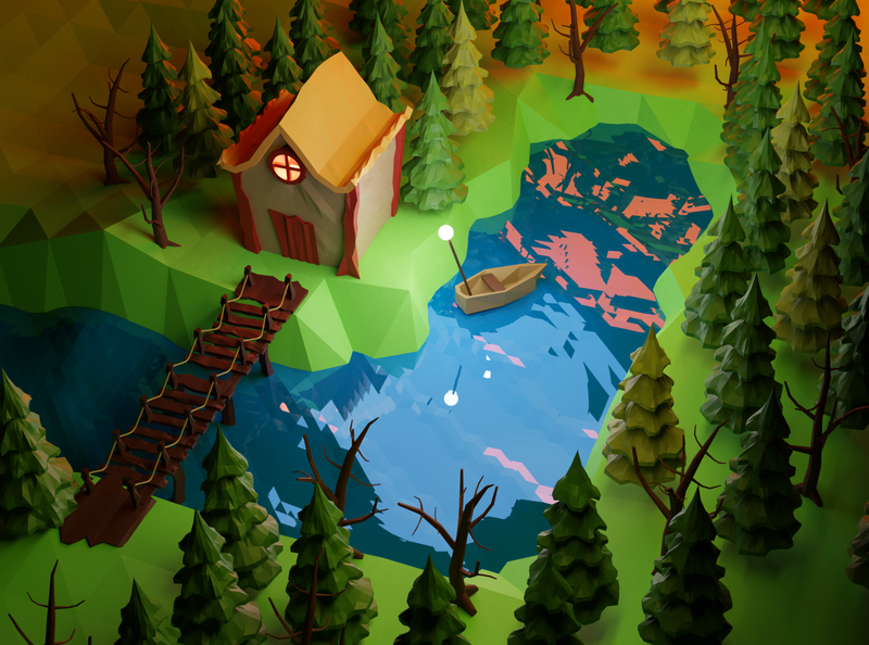 Moment lowpoly polygon nature blender 3d