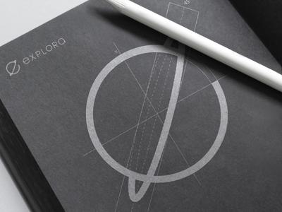 'Explora' Logo Grid concept design graphic inspiration space app logomark sketch sketchbook construction brand logo grid
