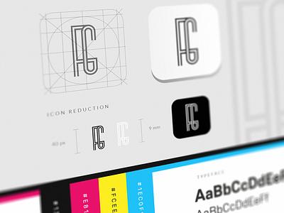 F+G Brand Guidelines process typeface fg logo design grid identity branding cmyk inspirations logomark guidelines brand monogram