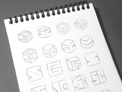 S+C Exploration on Sketchbook sketches logofolio monogram process sketchbook grid inspiration exploration design logo
