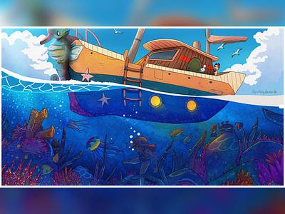 Vacation digitalart boat characterdesign fun water ocean artwork funny creative illustration alperbaydemir