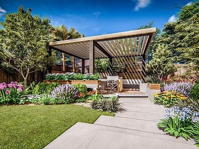 Backyard landscaping design. 3d architecture sketchup architecturalvisualization landscaping lumion archviz