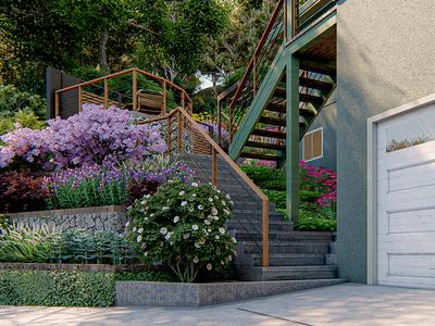 Landscaping rendering for entrance garden.