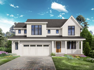 Front facade rendering for new house project.