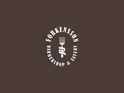 FORKENSSON comb fork barbershop logo
