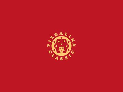 Pizzalina pizzeria pizza logo