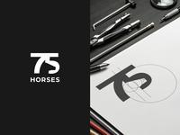 75 horses negative space horse 75 logo