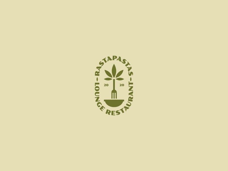 RASTAPASTAS geometric design vector design bush fork plate dish chill lounge restaurant pasta marijuana cannabis rasta logo