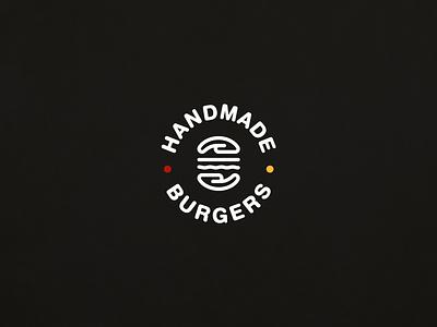 HANDMADE BURGERS restaurant handmade sandwich burger logo