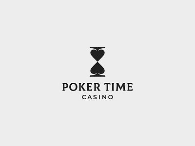 POKER TIME hourglass clock casino spades poker logo