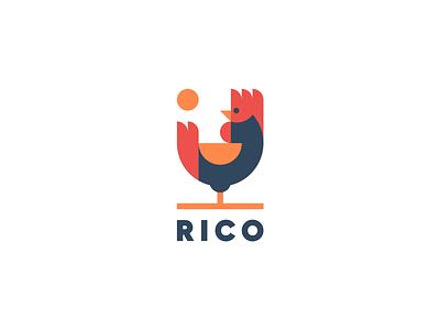 RICO simple geometric design animal farm rooster logo
