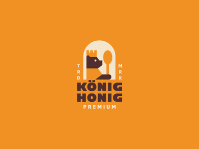 KONIG HONIG simple geometric design animal spoon king bear honey logo