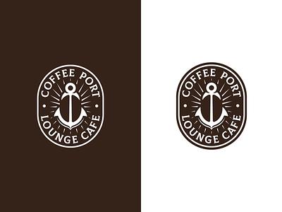 COFFEE PORT vector branding negative space cafe anchor bean coffee logo