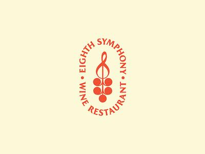 Eighth Symphony wine restaurant treble clef eighth note logo
