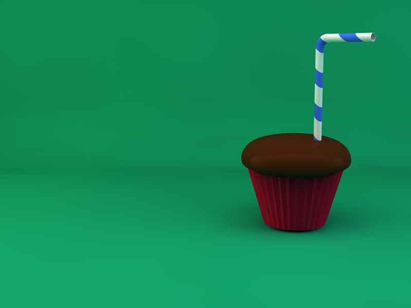 Just 'Sipping a Cupcake party 3d straw cupcake first try cinema4d