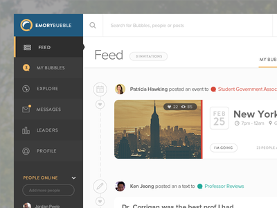 Feed page for Emory Bubble dashboard flat emory bubble college ui university