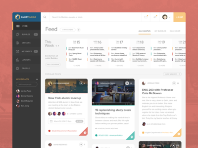 New feed page with calendar and grid
