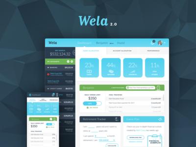 Wela 2.0 Redesign mobile admin dashboard responsive investing advisor financial wela
