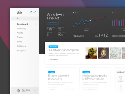 Artcloud redesign preview responsive layout service interface ui profile analytics art dashboard