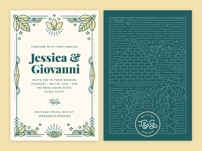 Egypt Wedding Invitations line illustration invitation cairo egypt print invite wedding