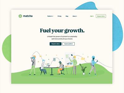 Matcha launch! content marketing content landing page marketing site motion matcha