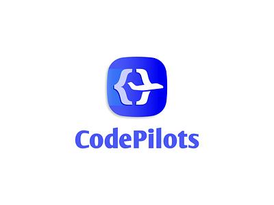 Code Pilots pilot logo jet airplane planet brackets appicon coder code