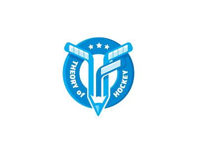 Theory of hockey badge design badge logo badge logo school logo school hockey logo hockey stick sticks icehockey hockey
