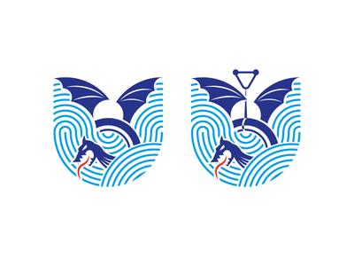 Ski water club logo wakeboard waterski dragon logotype logo