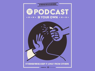 The New New Normal psa etiquette office covid-19 new normal headphone podcast poster design illustration