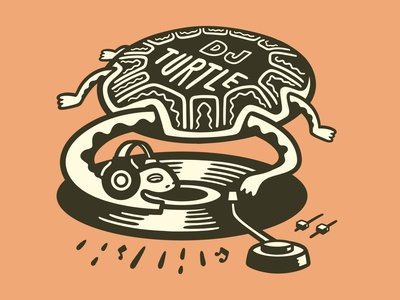 DJ Turtle dj turntable vinyl record turtle illustration