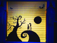 Jack & Sally hand drawn and cut window decoration