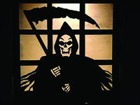 Grim Reaper hand drawn and cut window decoration