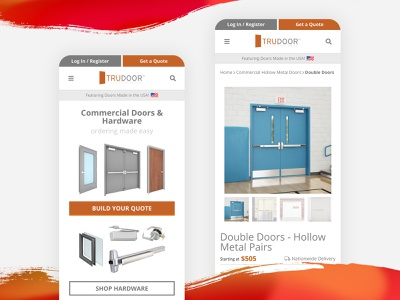 Trudoor Responsive Mobile eCommerce Website arizona web design uidesign mobile ui mobile design mobile uiux ux ui design website cart shopping ecommerce responsive website web product ecommerce shop ecommerce app