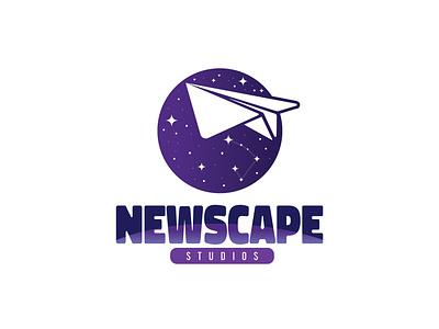 Newscape Studios Logo ui illustrator vector brand 2021 plane airplane paperplane paper galaxy stars space graphic design logo branding
