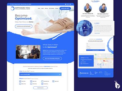 One-Page Responsive Website - Optimize You medicine sports massage healing blue sketch app web design website design arizona nocode graphic design onepage ui