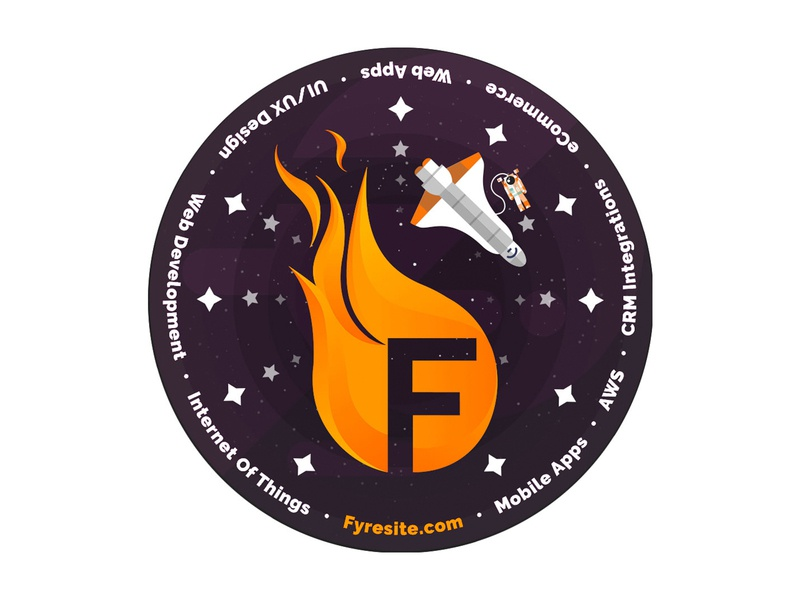 Fyresite Spacewalk Patch galaxy orange flat adobe illustration vector art patch space sticker