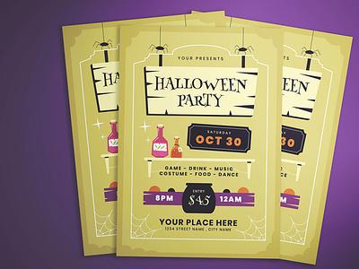 Halloween Flyer witch potion psd ai vector graphic design design template illustrator ykzr illustration halloween
